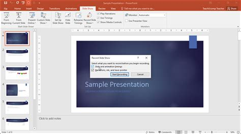 tutorial for powerpoint record a slide show in powerpoint tutorial teachucomp