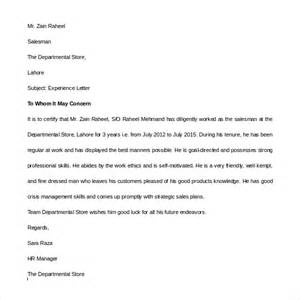 experience letter template word sle experience letter 9 documents in pdf word