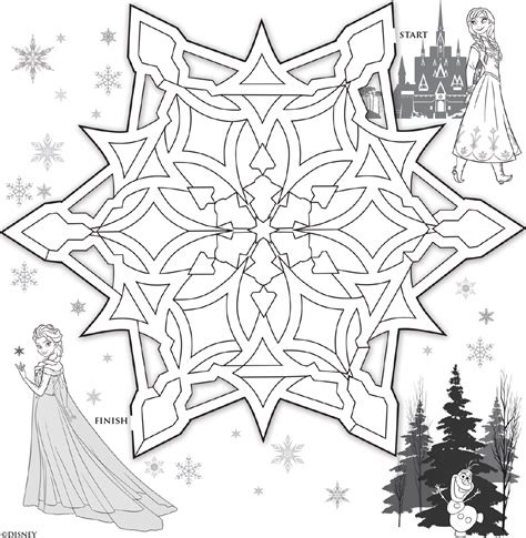 printable snowflake maze frozen anna and elsa snowflake maze disney family