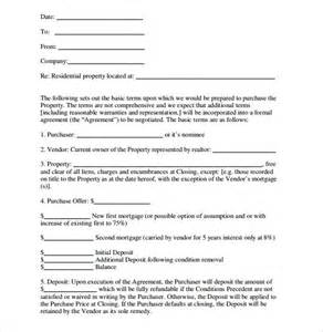 Sle Letter Of Intent For Housing Loan Application 10 Real Estate Letter Of Intent Templates Free Sle Exle Format Free