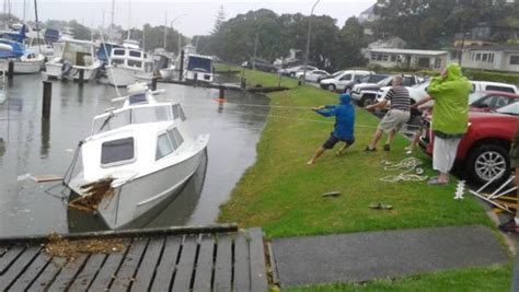 boat salvage auckland flooding closes roads inundates homes in auckland stuff