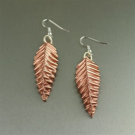 copper jewelry fold formed corrugated copper leaf earrings small