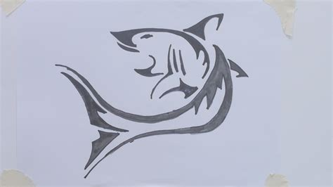 tattoo pictures to draw how to draw shark tribal tattoo youtube