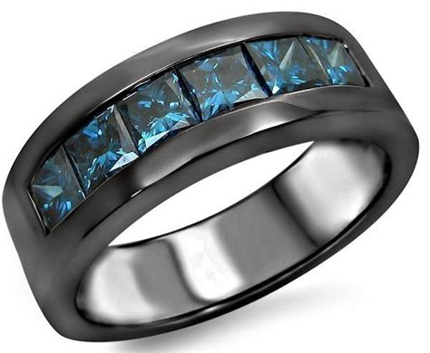 Bodypack Rollover 1 1 Blue Black mens 1 60ct blue princess cut wedding band ring