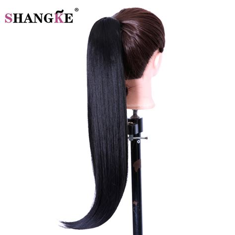 realistic drwa string pony tail hair shangke 26 quot long claw clip drawstring ponytail fake hair