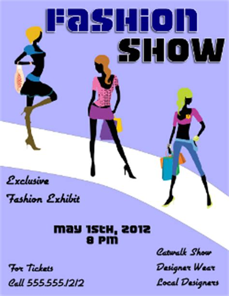 Fashion Show Flyer Template 2 For Inkscape Free Download Edit And Print Flyertutor Com Fashion Show Ticket Template Free