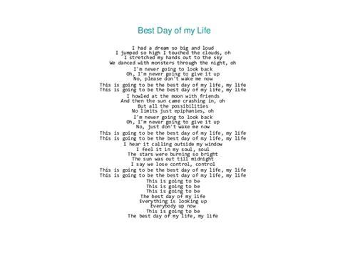 Printable Lyrics Best Day Of My Life | canciones clases de ingl 233 s