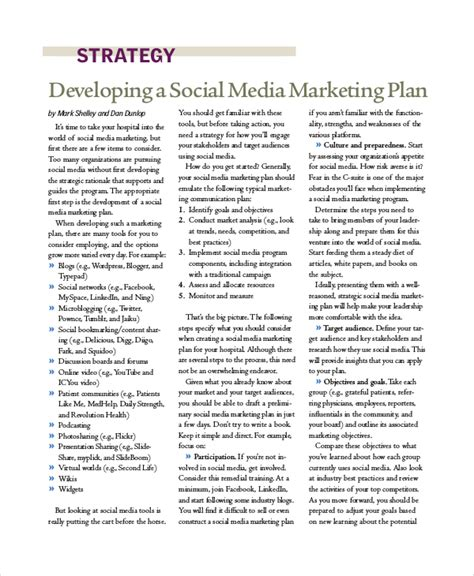 social media business plan template sle social media marketing plan 8 exles in pdf