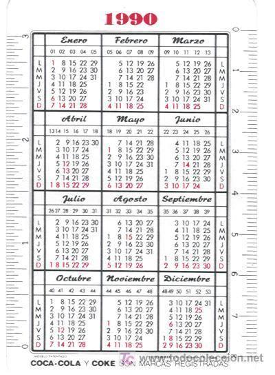 Calendario Ano 1990 Calendario Fournier De Coca Cola A 241 O 1990 Comprar