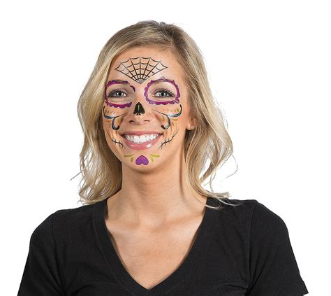 day of the dead face tattoos day of the dead tattoos 9ct 337360