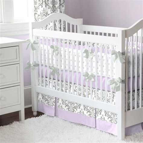 damask baby bedding lilac and gray traditions damask crib skirt two front