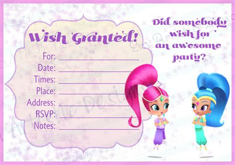 Instant Download Shimmer And Shine Fill In The Blank Shimmer And Shine Invitations Templates