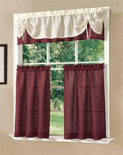 curtain setting dainty home sunrise solid decorative kitchen curtain set