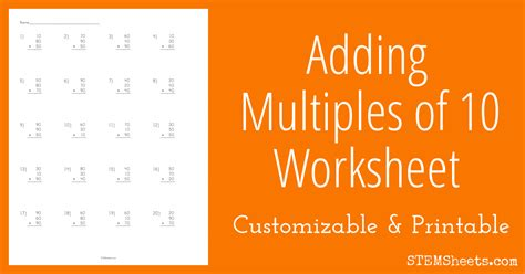 adding multiples   worksheet stem sheets