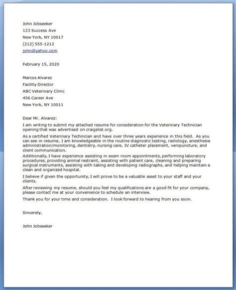 vet tech cover letter vet tech life pinterest - Cover Letter For Veterinarian