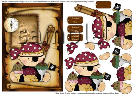 Free Decoupage Downloads - pirate boy birthday decoupage digital