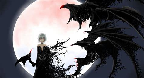 anime girl creepy wallpaper creepy anime girl albino wings moon background wallpaper