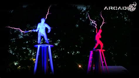 Tesla Coil Show Electricity Fight Of Lightning Dueling Tesla Coil