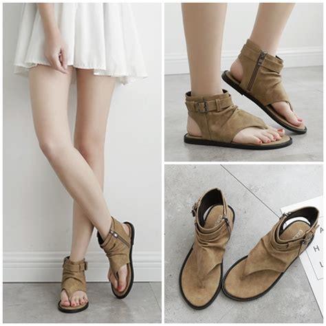 Sepatu Sandal Flower Import jual shf1881 brown flat shoes import grosirimpor