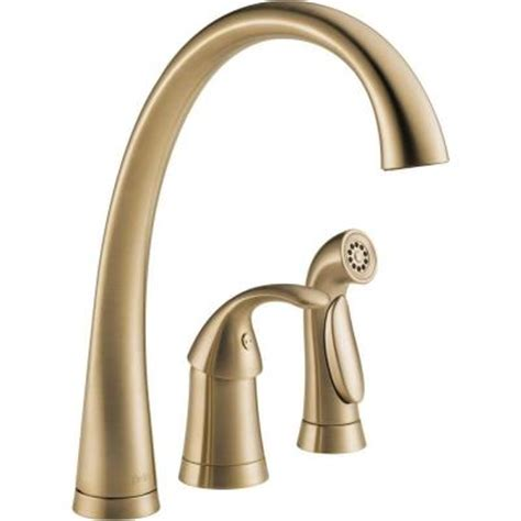 delta pilar waterfall single handle side sprayer kitchen faucet  champagne bronze discontinued
