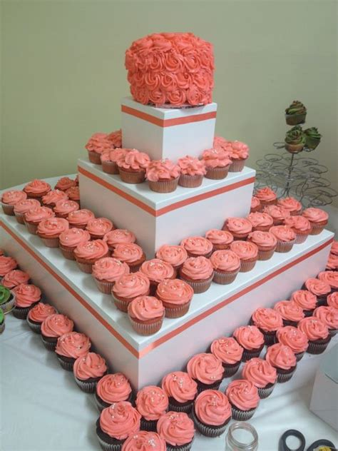 coral colored table ls coral cupcakes by jsweets julie lawson wedding 7 20 13