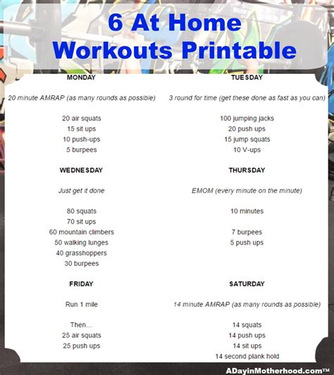 6 at home workouts tips and printable