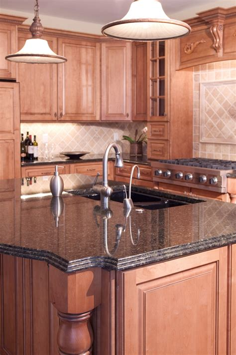 kitchen island granite countertop coffee brown granite installed design photos and reviews granix inc