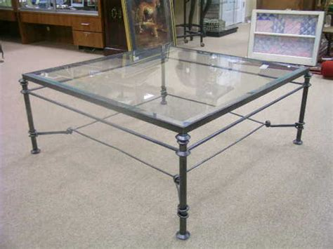 Black Wrought Iron Coffee Table With Glass Top 232 Black Wrought Iron Glass Top Coffee Table Lot 232