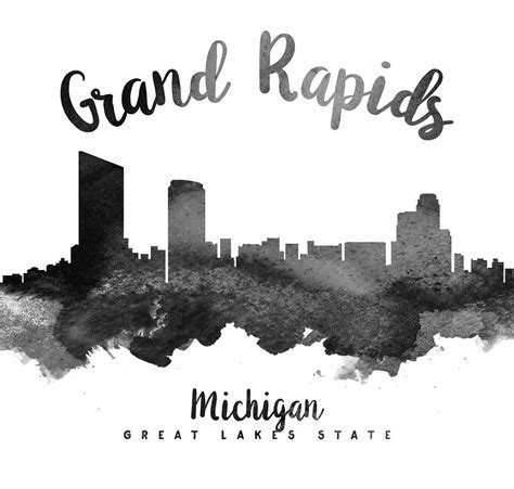 Grand Rapids Skyline Outline grand rapids michigan skyline 18 painting by aged pixel