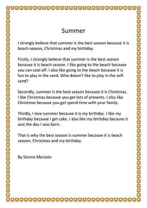 Why Summer Is My Favorite Season Of The Year Essay by My Favourite Season Year 4 Barrington School