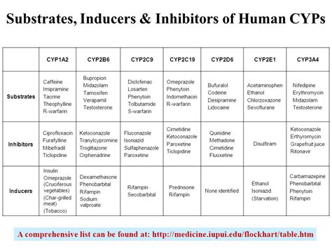 cytochrome p450 inducers and inhibitors table metabolizing enzymes and reaction phenotyping ppt