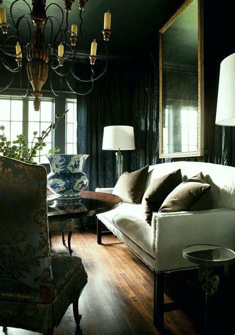 stylish dark green walls  living room design ideas