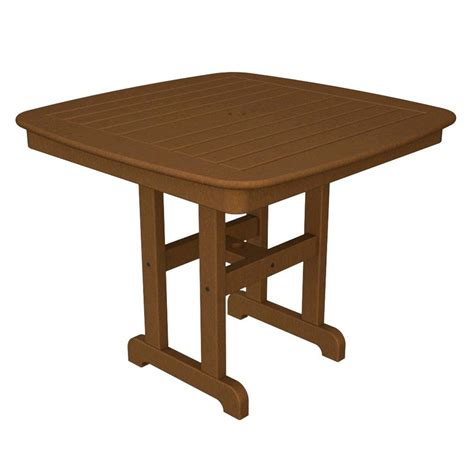 Plastic Outdoor Dining Table Polywood Nautical 37 In Teak Plastic Outdoor Patio Dining