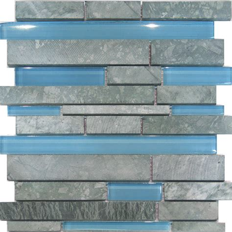 1sf marble blue glass random linear mosaic tile