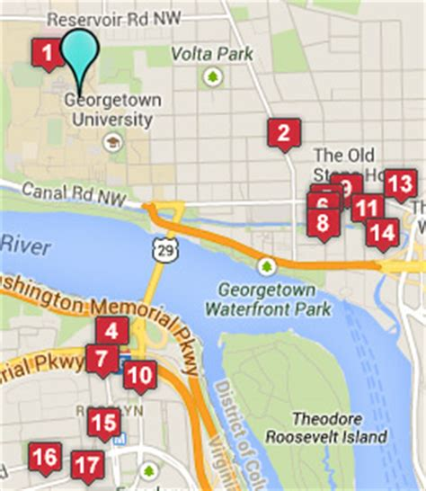 washington dc universities map map of georgetown dc restaurants pictures to pin on