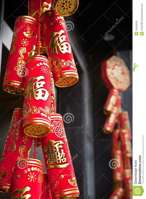 chinese firecrackers decorations royalty  stock