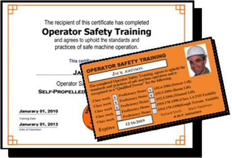 Equipment Operator Certification Card Template by Safety Plus Llc 187 Fork Lift Operator