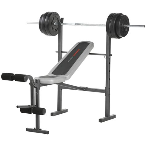 weight bench combo set weider 174 220w combo bench with 80 lb weight set 189026