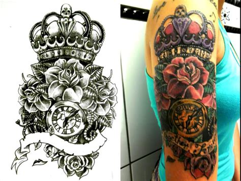 crown with roses tattoo crown images designs