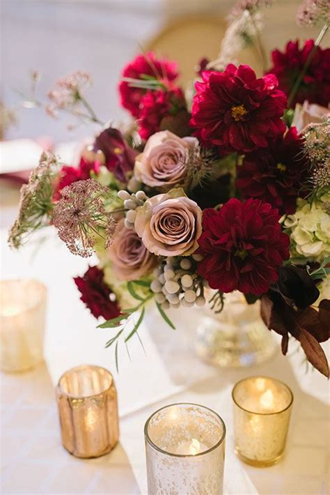 romantic burgundy  rose gold fall wedding ideas page