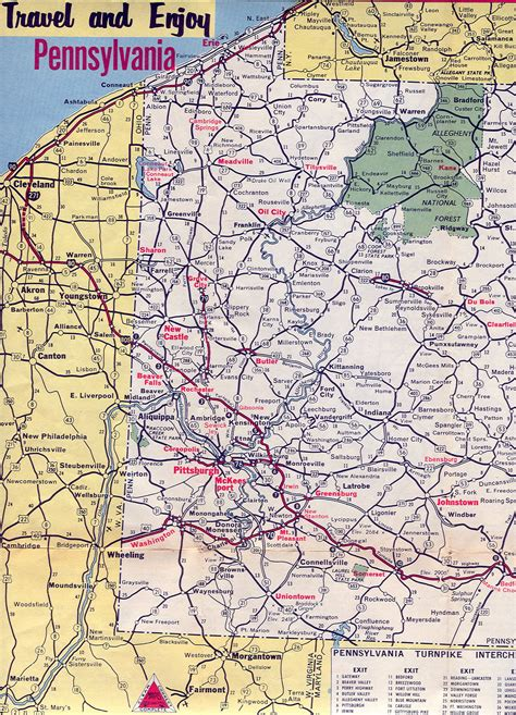 map of pennsylvania 1960 s road maps of pennsylvania