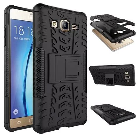 Hardcase Galaxy J2 2015 Aluminium Bumper Mirror Black heavy duty shockproof silicon cover stand for