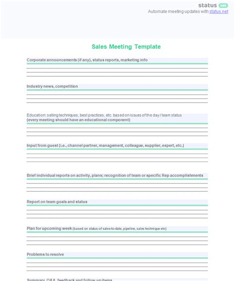 sales meeting report template conducting a productive sales meeting 2 agenda templates