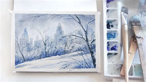 watercolor tutorial winter easy step by step watercolor tutorial winter in central