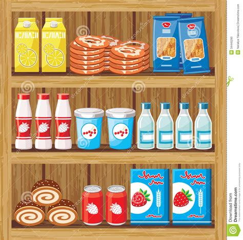 supermarket shelfs with food stock vector image 34445290