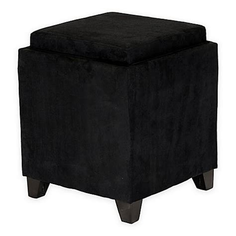 black microfiber ottoman buy orlando microfiber storage ottoman in black from bed