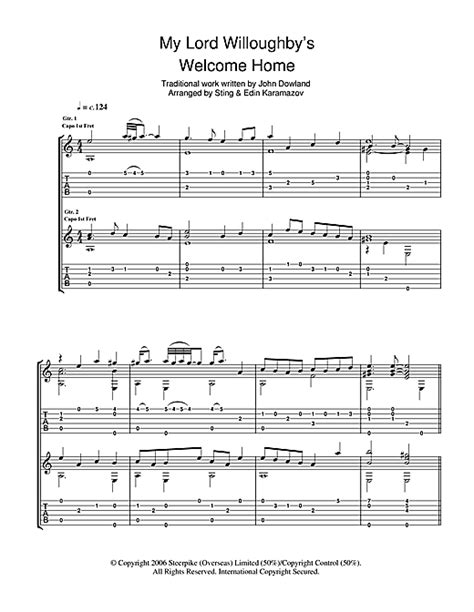 my lord willoughby s welcome home guitar tab by sting