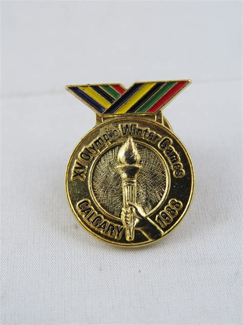 gold medal pattern 1988 winter olympic games pin gold medal design with