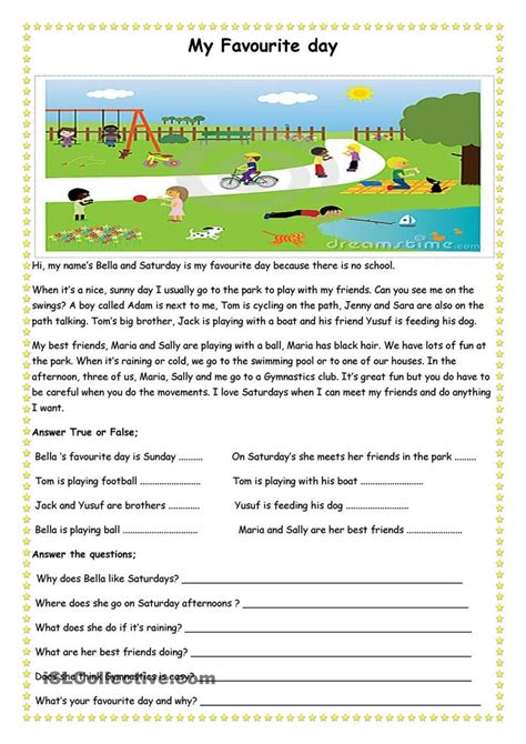 reading comprehension test esl beginners my favourite day esl worksheets of the day pinterest