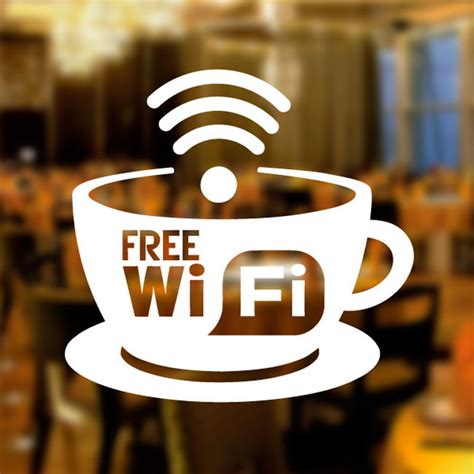 Office Decoration Theme by Free Wifi Cup Window Sign Vinyl Sticker Graphics Cafe Shop